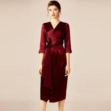 Платье женское ацетатное с v образным вырезом 2 цвета