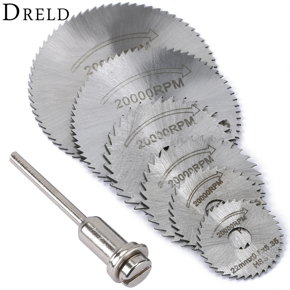 DREL 7 Pcs HSS Rotary Tools Circular Saw Blades Cutting Discs Mandrel Cutoff Mini Saw Blade Wood Drills Tools Dremel Accessories