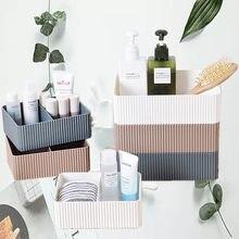 Boîte de rangement de maquillage à 2 grilles, boîte de rangement en plastique pour la maison, le bureau, la salle de bain, divers articles de bureau, étui organisateur de placard à cosmétiques