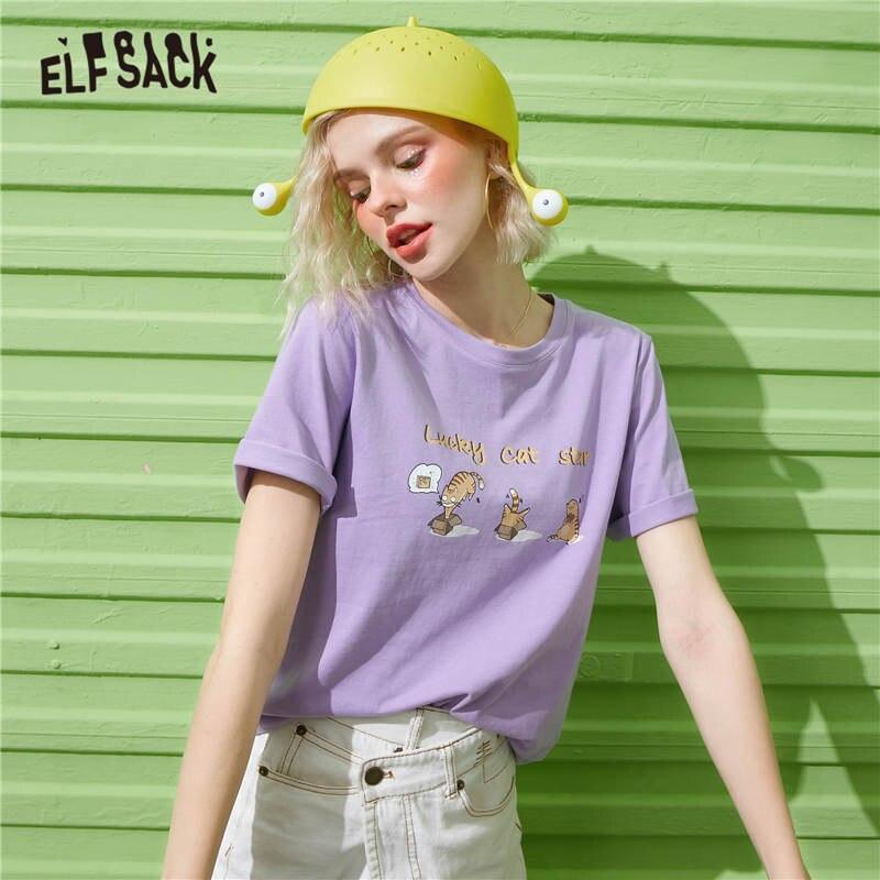 ELFSACK Harajuku estampado de gato púrpura Casual camisetas mujeres Top 2020 verano ELF blanco divertido gráfico coreano señoras lindas camisetas diarias Vestido de verano para niñas, vestido de princesa ariel con cola de sirena, disfraz de cosplay para niña, vestido verde elegante