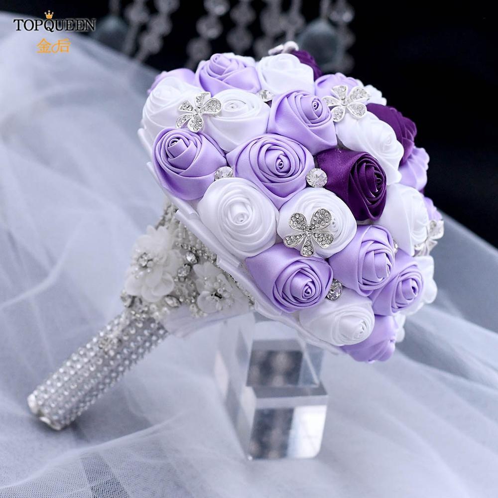 TOPQUEEN Lavender White Brooch Bouquet Handmade Flower Rhinestone Bridesmaid Bridal Wedding Bouquet Marriage Accessories F7-G