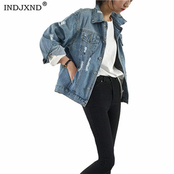 INDJXND Autumn Women Sexy Ripped Denim Jackets 2020 Vintage Casual Jean Coat Winter Female Streetwear The Upcycled Trucker Tops image