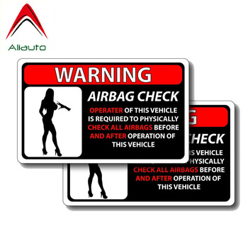 Aliauto 2 X Warning Car Sticker Check All Airbag Before and After Decal Accessories PVC for Opel Seat Vw Nissan Suzuki,13cm*8cm image
