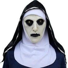 Máscara de halloween freira horror látex máscaras cosplay mascarillas valak rosto máscaras com headpiece atacado e dropshipping