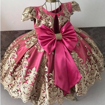 Princess Kids Dresses for Girls Tutu Lace Flower Embroidered Ball Gown Children Wedding Party 1