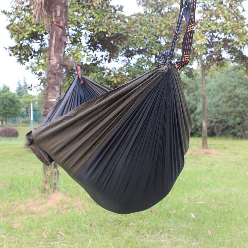 Outdoor Camping Single Person Hammock Send Same Color Cloth Bag Two Tying Parachute Cloth Hammock Printed Ultra-Thin Hammock