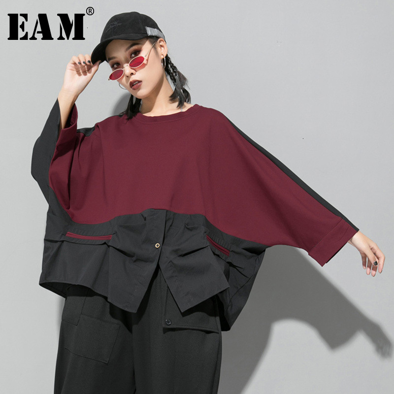 [EAM] Loose Fit Contrast Color Oversized Sweatshirt New Round Neck Long Sleeve Women Big Size Fashion Spring Autumn 2020 1D716 1