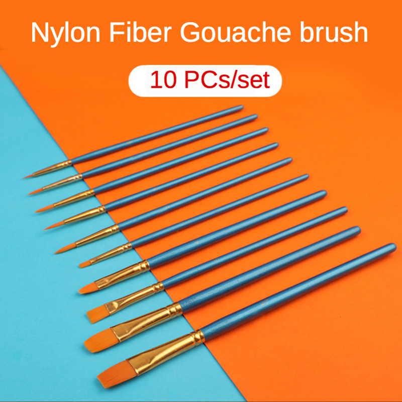Multi-Function Gouache Different Shape Round Pointed Nylon Hair Watercolor Line Drawing Pen 10Pcs/Set Oil Painting Art Brush