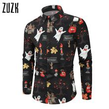 ZUZK New Halloween Funny Printed Shirt Fashion Men's Long-Sleeved  Shirt