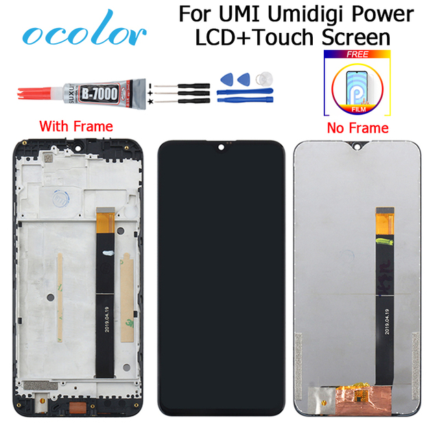 For UMI Umidigi Power LCD Display and Touch Screen 6.3 Digitizer Replacement + Tools For Umidigi Power With Frame+ Film