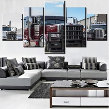 Hot Selling 5 Pieces Home Decor Print oil painting Wall Art Decorations Canvas,Peterbilt car