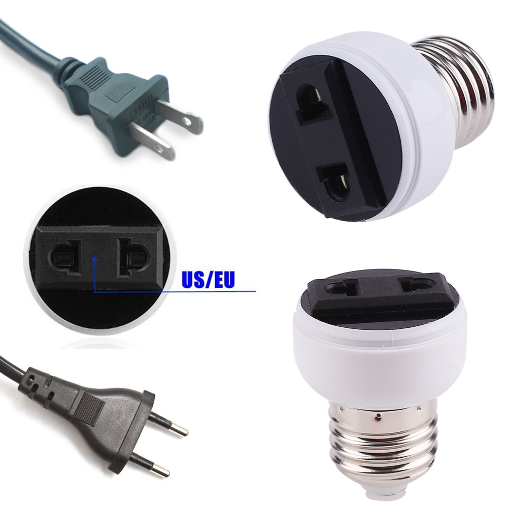 E27 Lamp Socket Screw Bulb US/EU Plug Accessories Household Supply Converter Light Holder Lamp Base White Connector