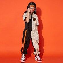 Детская крутая одежда в стиле хип-хоп с короткими рукавами Свободный комбинезон цвета хаки, комбинезоны для девочек и мальчиков, костюм для джазовых танцев Одежда для бальных танцев