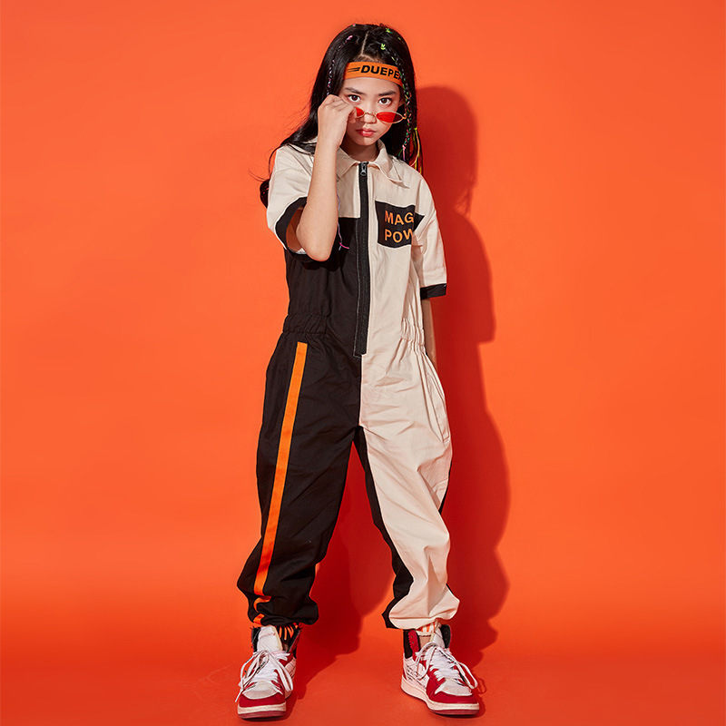 Kids Cool Short Sleeve Hip Hop Clothing Loose Khaki Jumpsuit Overalls For Girls Boys Jazz Dance Costume Ballroom Dancing Clothes