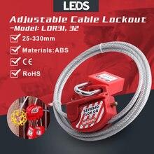 調整可能なケーブルロックアウトユニバーサルバルブ安全ロトロックコンビネーションセキュリティ鋼線absボディと6ミリメートルの長さ2メートル4ロック