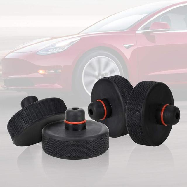 4Pcs Black Rubber Jack Lift Point Pad Adapter Jack Pad Tool Chassis Jack Pad Car Accessories For Tesla Model X/S/3