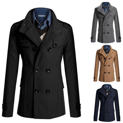 2019 Winter Men's Long Slim Coat Woolen Coat Trench Coat