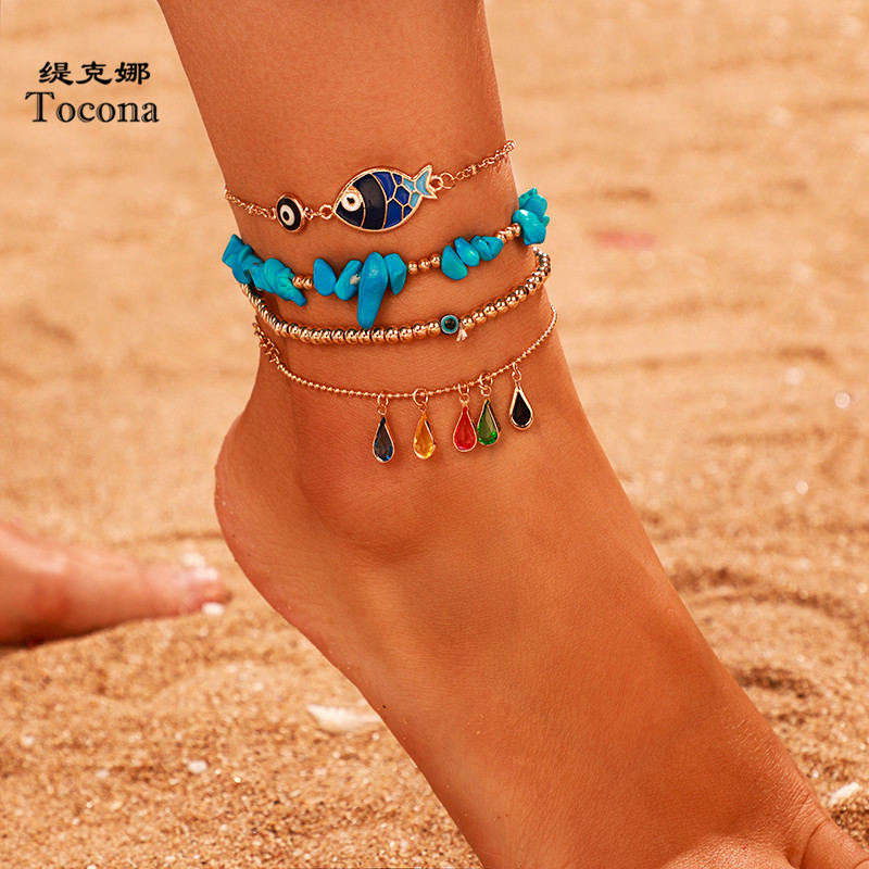 Tocona 4pcs/sets Nutural Stone Anklets for Women Gold Bead Wter Drop Crystal Stone Fish Eyes Foot Chain Summer Jewelry 9083