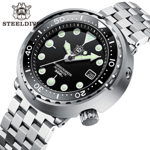 Dive-Watch Ceramic Bezel Nh35 Tuna Dial Stainless-Steel Steeldive Sd1975 Black 300m Waterproof