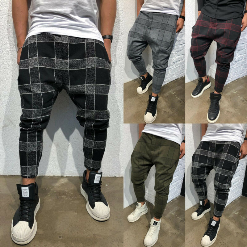 Men Plaid High Waist Elastic Harem Pants Long Casual Sport Pants Gym Slim Fit Trousers Running Joggers Gym Sweatpants