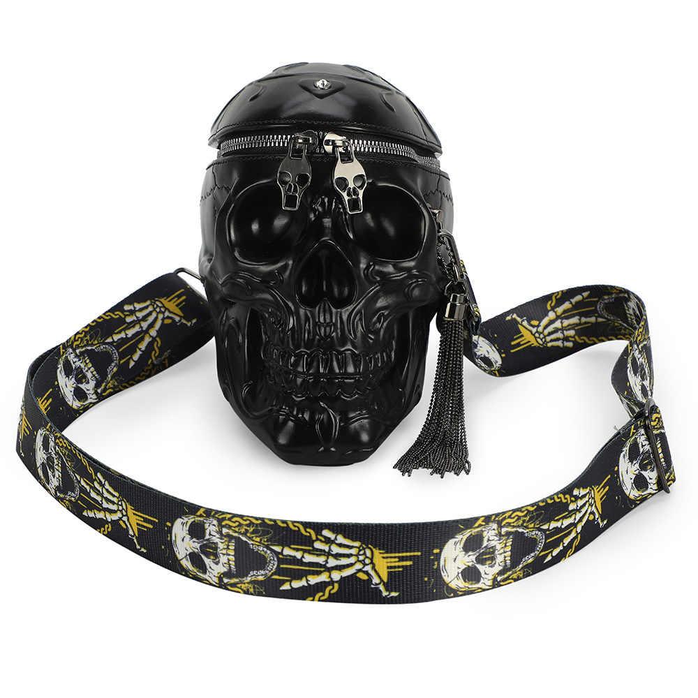 Dark Horned Demon Skull Messenger Bag Crossbody Bag Large Durable Shoulder School Or Business Bag Oxford Fabric For Mens Womens