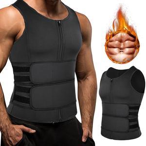 Men Body Shaper Sauna Vest Waist Trainer Double Belt Sweat Shirt Corset Tops Abdomen Slimming Shapewear Fat Burn Fitness Top