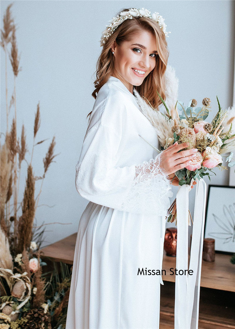 Sexy Ivory Lace Jersey Wedding Robe  Bridal Sleepwear Wedding Party Robe