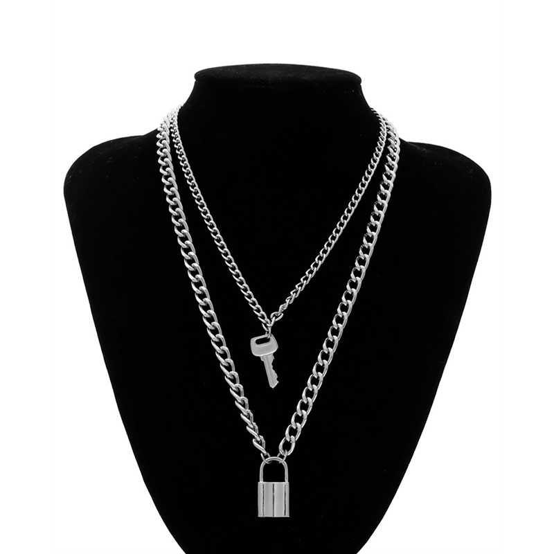 אופנה מפתח מנעול תליון שרשרת לנשים זהב/כסף מנעול שרשרת שכבות שרשרת על צוואר עם מנעול פאנק תכשיטים