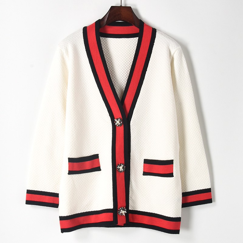 Long Seeve V-neck With Pearl Beading Button Cardigan Women Color Striped Causal Loose Sweaters Black White Knit Coat