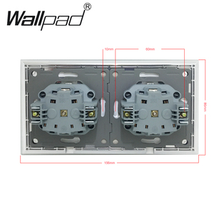 Image 4 - Wallpad siyah kristal cam Panel 110V 250V çift toz kapağı ab avrupa Schuko duvar soketi pençeleri ile klipler soket kapaklı