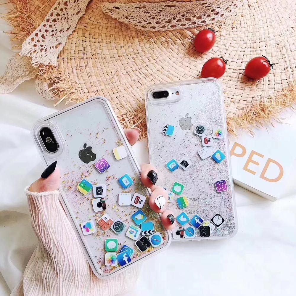 Quicksand Clear Case For iPhone 6 6S 7 8 Plus X XR XS MAX Cute APP icon Liquid Hard PC Case Capa Cover For iPhone 8 Phone Shell image