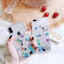 Funda transparente de arena movediza para iPhone 6 6S 7 8 Plus X XR XS MAX lindo icono de aplicación líquido duro funda para PC funda para iPhone 8