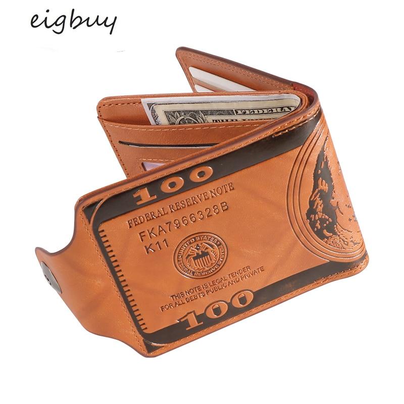 EIGBUY Leather Wallet Fashion Short Bifold Men Wallet Casual Soild Wallet With Coin Pocket Purses Male Wallets