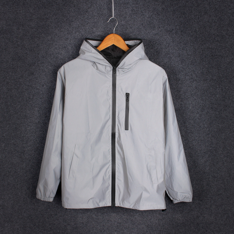Unisex Luminous Jacket Coat Reflective Harajuku Windbreaker Jackets Hooded Hip-hop Streetwear Night Shiny Zipper Coats