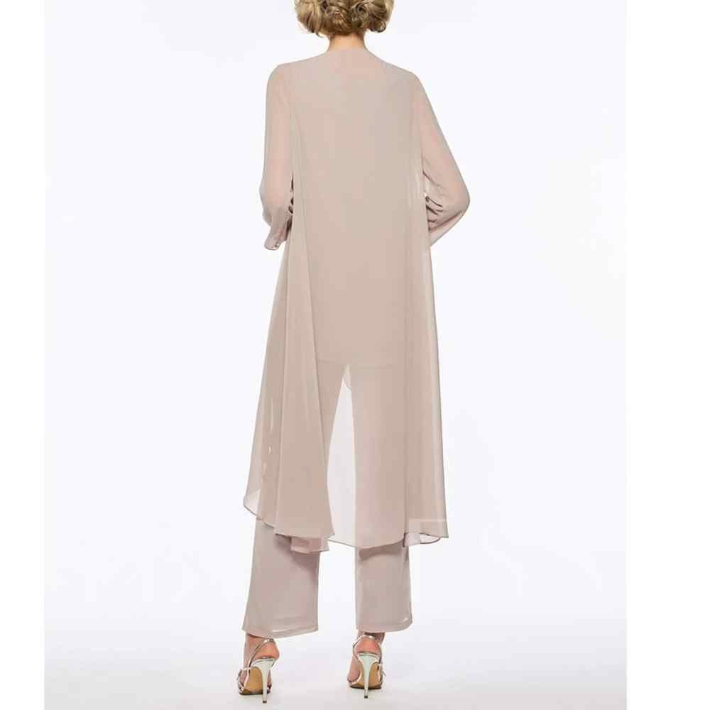 للمرأة 3 قطع الكشكشة شيفون فستان عروس بدلة سروال كم طويل مع جاكيت زي من أجل زفاف العريس 2019