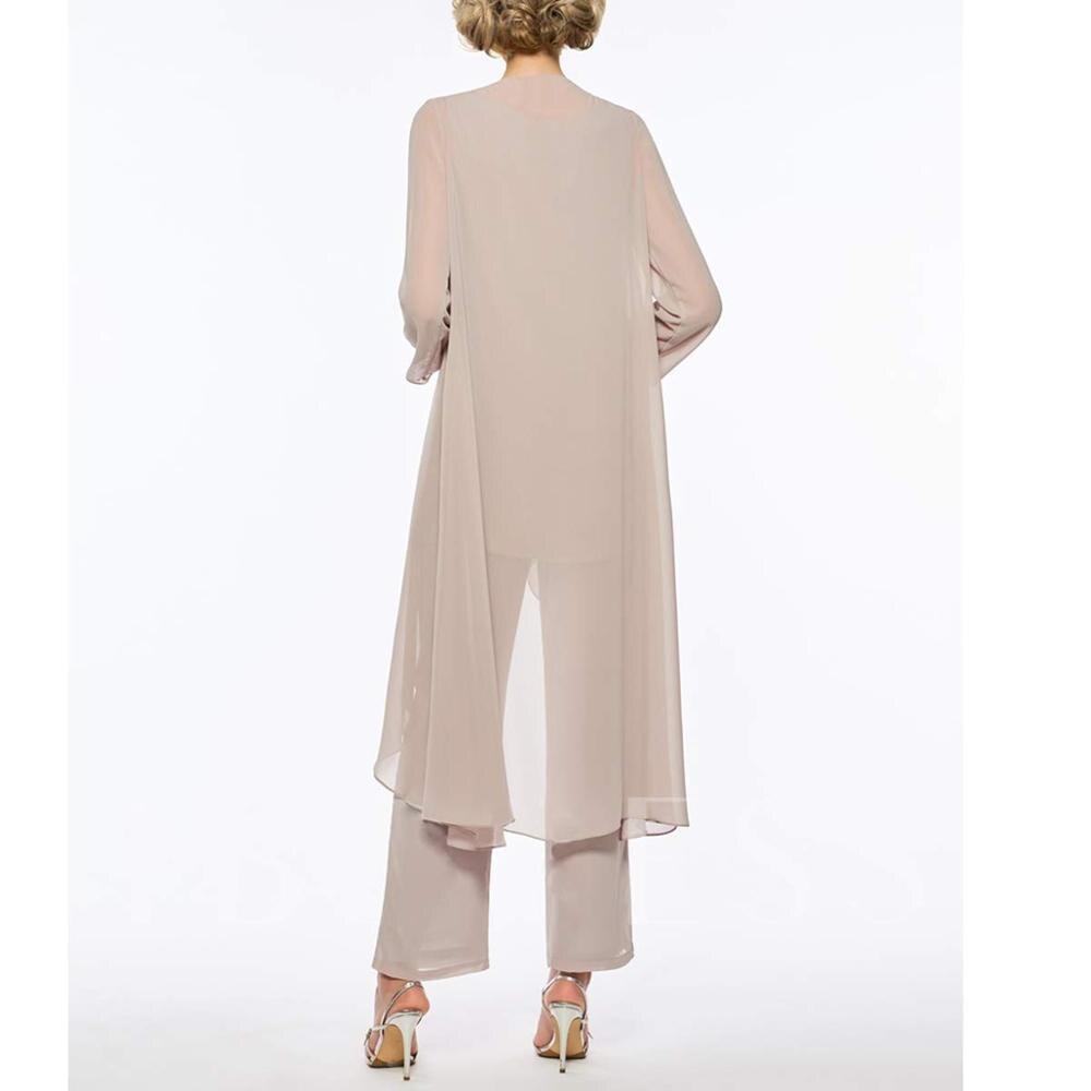 Femmes 3 pièces volants mousseline mère de la mariée robe pantalon costume manches longues avec veste tenue pour le marié de mariage 2019 - 6