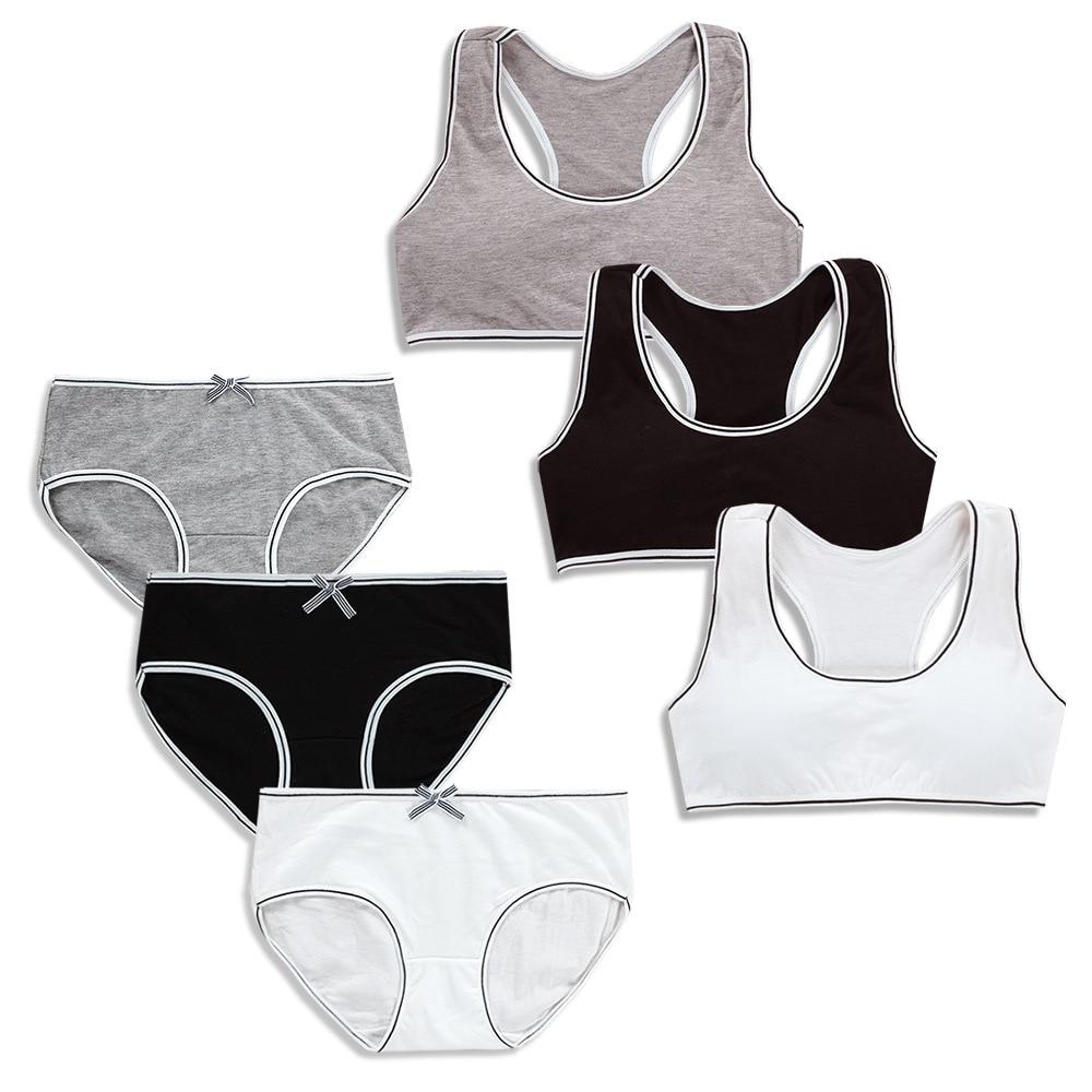 Teenagers Girls Lingerie Cotton Underwear Sets Kids Training Bras Puberty Students Bra Vest Brassiere Panties