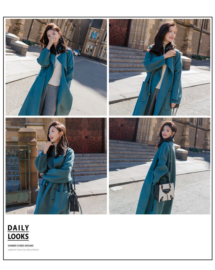 Large Size 2019 Fashion Women Winter Jacket Wool Coat Female Long Paragraph Long Sleeve Coat Thick Woolen Blends Outwear 5