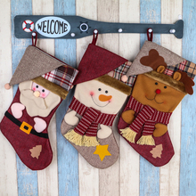 Hot sale Christmas Embroidered Stocking Gift Candy Hanging Bag Santa Claus Snowman Hotel Home gift bag Decoration