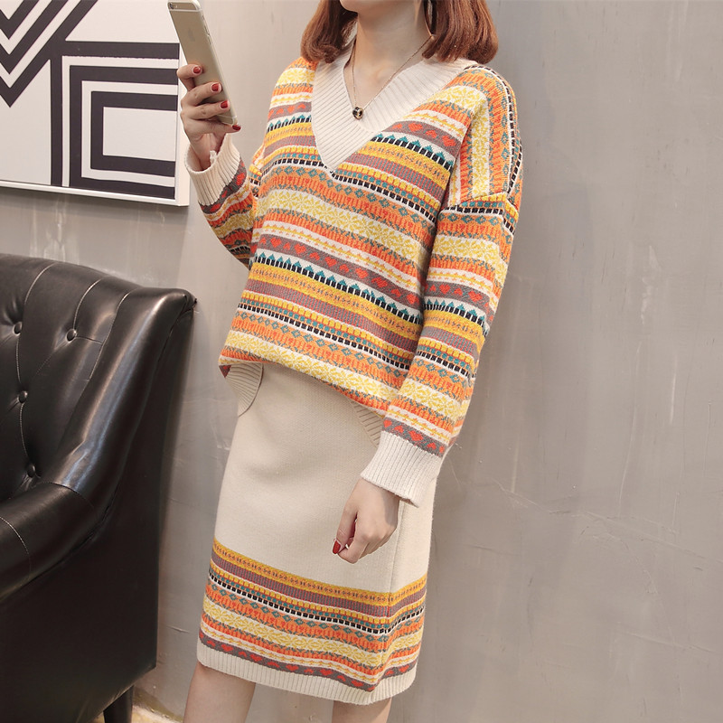 Popular Printed Sweater Tops Women's 2019 Autumn And Winter New Products Korean-style V-neck Long Sleeve Loose-Fit Versatile Pul