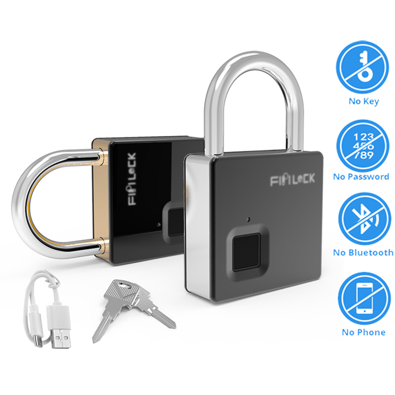 IP65 Waterproof Anti-Theft Security Padlock Smart Inteligen Lock Key Fingerprint Lock Door Luggage Case Lock With Key & Cable