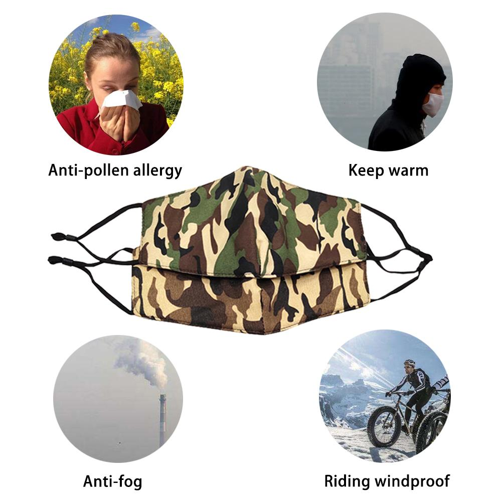 Camouflage Cotton Mask Men Women Fashion Winter Keep Warm Masks Mouth Face Mask Cycling Sport Dust Proof Cover Adjustable Buckle