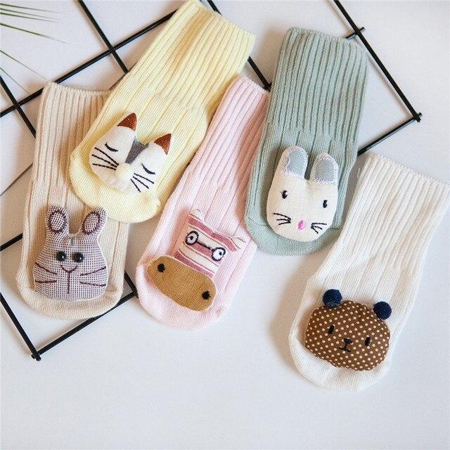 4 couleurs/ensemble chaussettes de haute qualité | Chaussettes en coton pour bébés nouveau-né dessin 3D, bébé mignon, accessoires pour enfants unisexe 0-12 mois