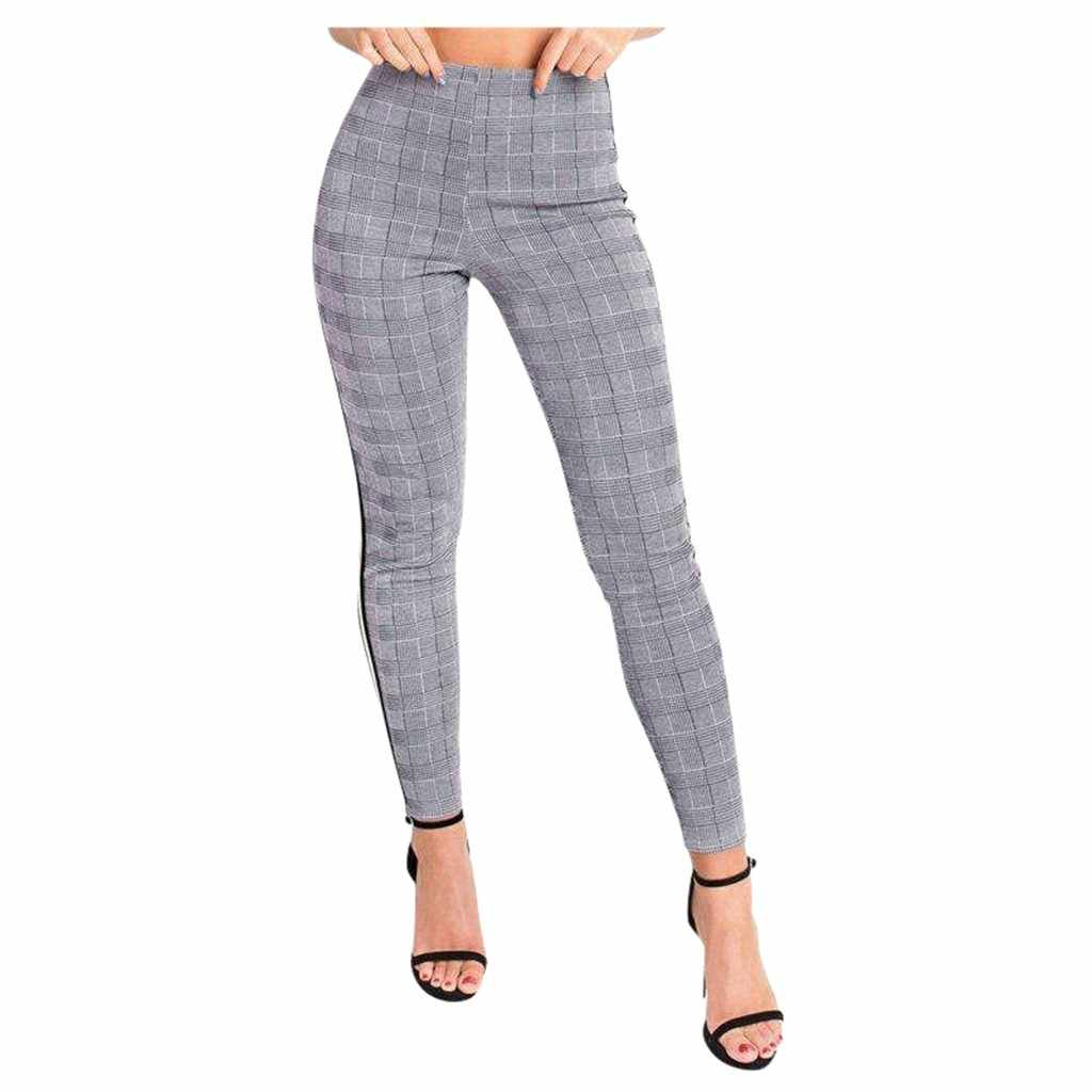 Women's Sexy Pants New High Waist Tights Striped Plaid Printed Sport Casual Trousers Four Seasons Stylish Comfort Pantalones #A