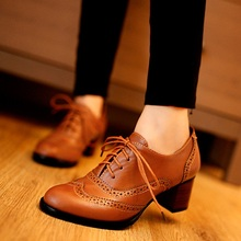 New Spring Women Shallow Brogue Shoes Vintage Chunky Heel Cu