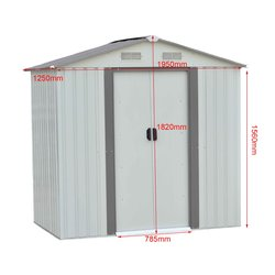 4x6FT açık bahçe depolama barakası hava geçirmez çelik araçları yardımcı arka bahçesinde çim barınak eğimli çatı pencere ile