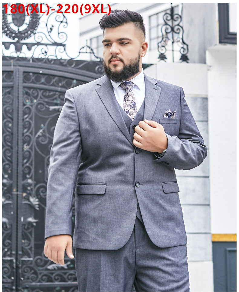 Men Suits Set 2019 Wedding Groom Formal Grey Black Suit 3 Sets Piece Business Banquet Mens Plus Big Size 6XL 7XL 8XL 9XL Blazer