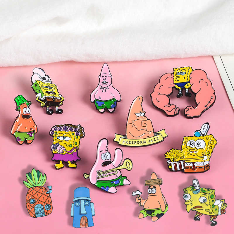 Sponge baby and Starfish Lapel Metal Pins Classic Animation Brooches Badges Backpack Enamel Pins Jewelry Gifts For Fans Friends