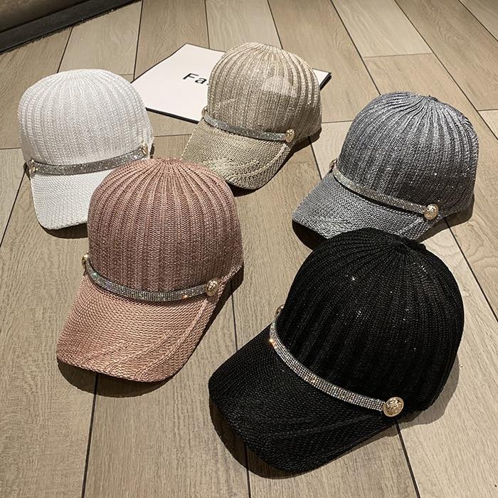 202003-mujiao-mesh  Ventilation  Rhinestone Ribbon    Leisure Lady VISORS Cap  Women Baseball  Hat