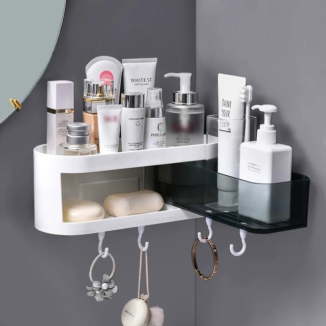 Corner Wall Mounted Bathroom Shelf Shampoo Cosmetic Storage Rack Kitchen Shelf Organizer Household Items Bathroom Accessories